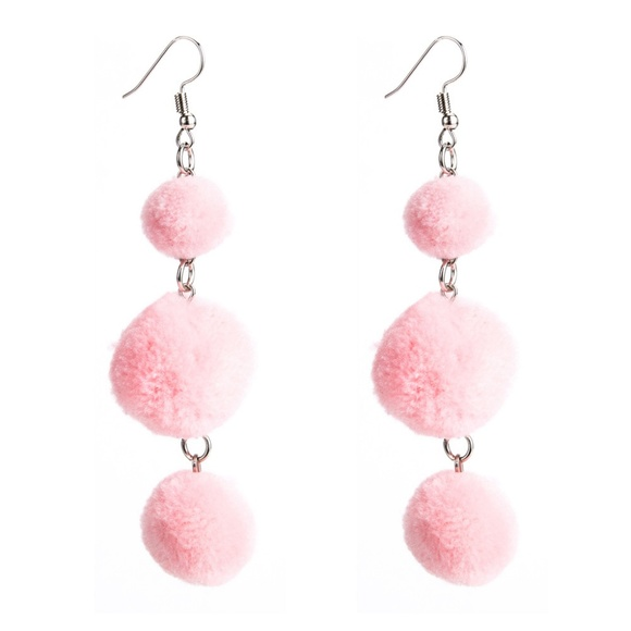 07e4935e7 Jewelry | Lucy Pink Pom Pom Drop Dangle Earrings | Poshmark